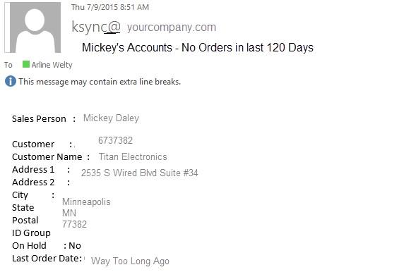 Mickeys Acct No Orders