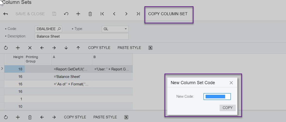 Acumatica ARM Report Column Set