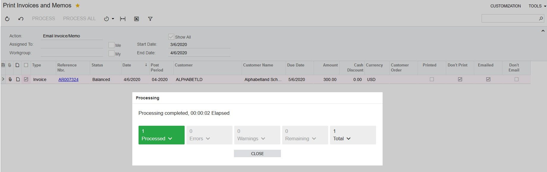 Acumatica email invoices where don't email is null