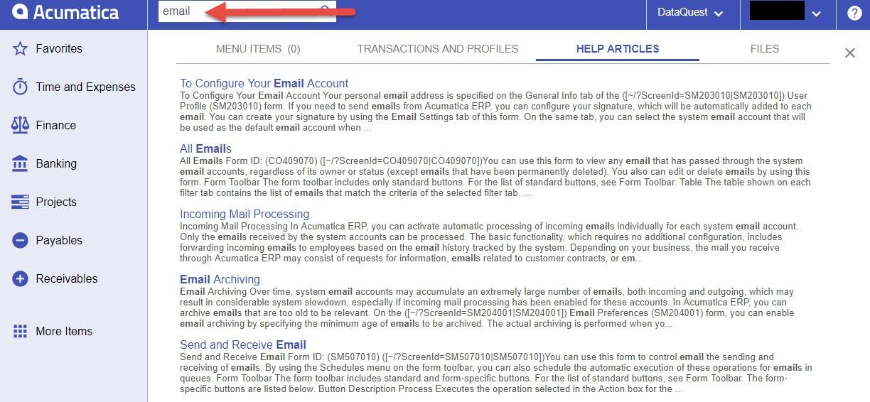 Acumatica email help