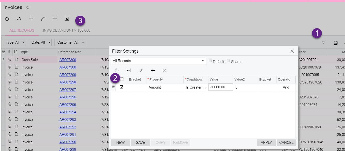 Configuring Acumatica filters