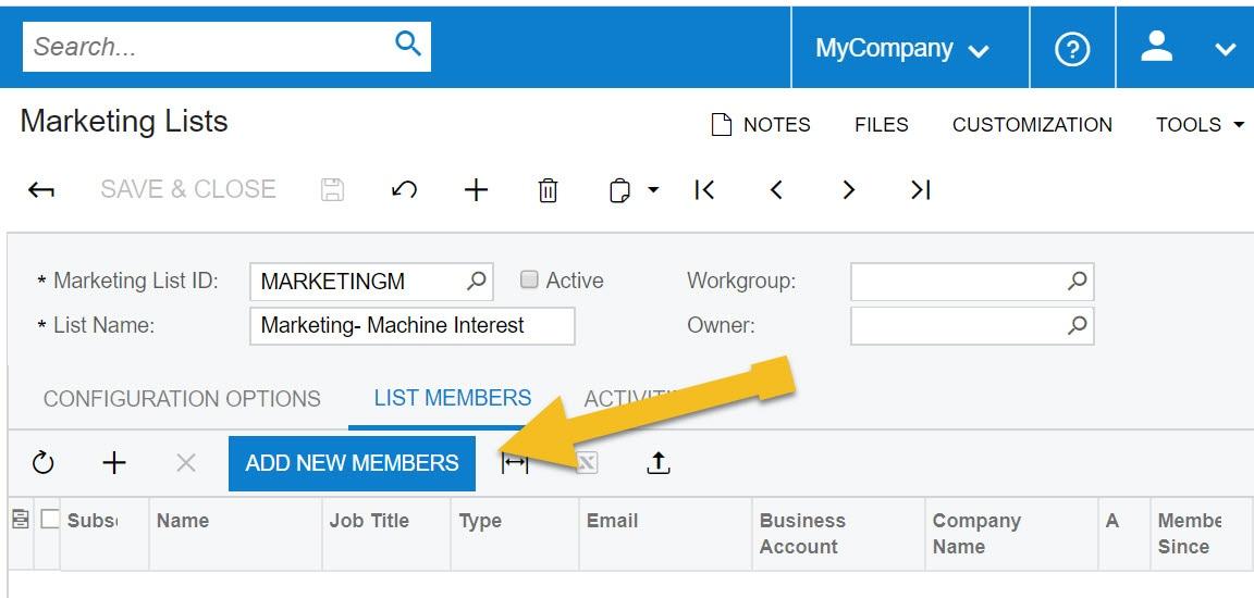 create marketing lists