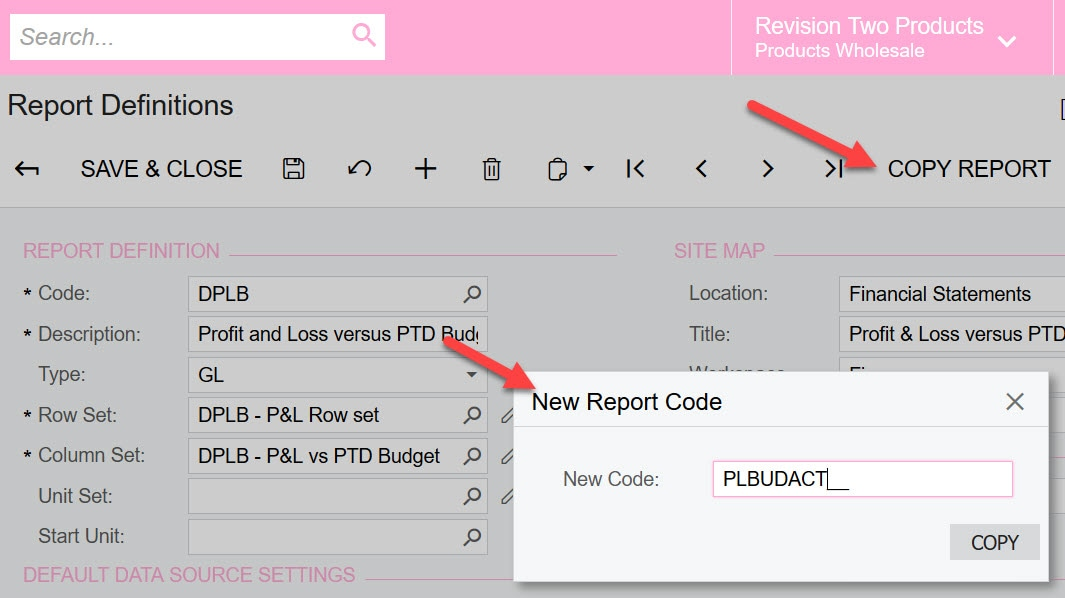 Copy existing report
