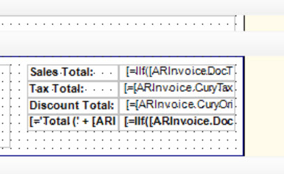 Acumatica Business Forms Inv Totals