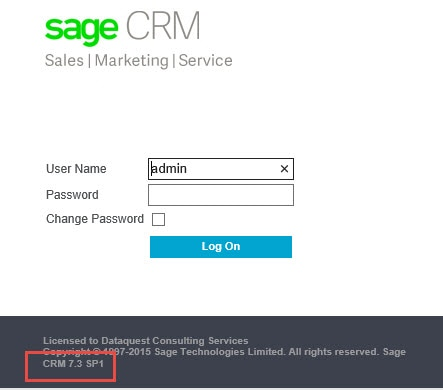 SageCRM Version