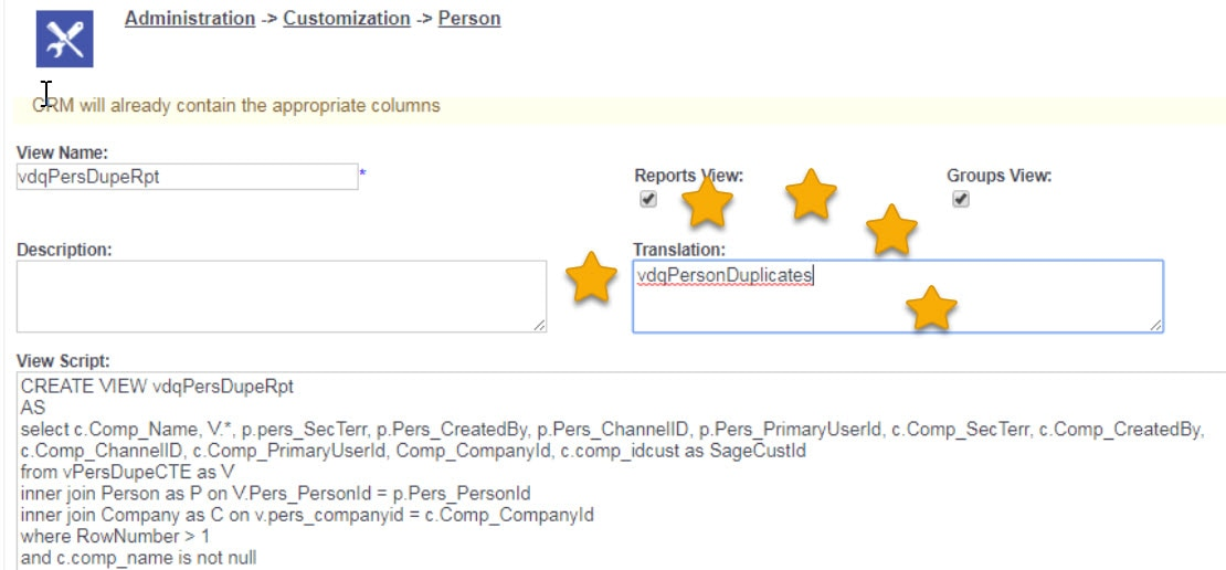Sage CRM view Name